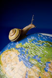 Slow travelling. Garden snail travelling around the world on a globe Royalty Free Stock Photography