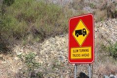 Slow turning Trucks Ahead Sign Stock Photos