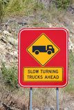 Slow turning Trucks Ahead Sign 1 Royalty Free Stock Photos