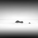 Slow water. Beautiful minimalistic black and white seascape. shot taken in daytime with long exposure. black sea, ukraine, odessa Royalty Free Stock Photo