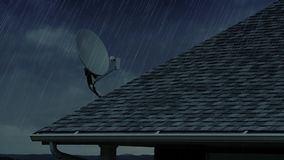 Rainy day residential rooftop with satellite dish. A slow zooming establishing shot of a house's rooftop with a satellite dish on a rainy day stock footage