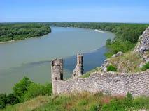 Slowakije, Meisjetoren van de rivieren van Devin Castle, van Donau en Morava- Royalty-vrije Stock Afbeeldingen