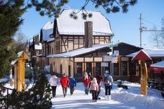 SLOWAKIJE, STARY SMOKOVEC - 06 JANUARI, 2015: Centrum van Stary Smokovec dichtbij spoorweg in Hoge Tatras-bergen stock fotografie