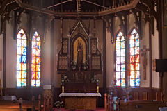 SLOWAKIJE, STARY SMOKOVEC - 06 JANUARI, 2015: Kerk van de Onbevlekte Ontvangenis Slowakije, Hoge Tatras-bergen stock afbeelding