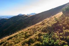 Slowakische Karpatenberge im Herbst sonnige Bergkuppen in der Summe Lizenzfreie Stockbilder