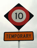 Slowdown sign. Rounded red and black slowdown sign royalty free stock photo