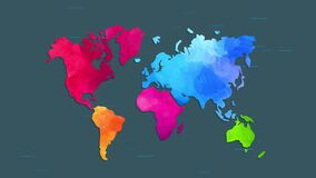 World map using unique colours for each continent