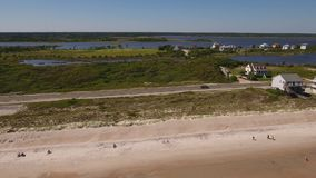 Profile Aerial Establishing Shot Topsail Island Intracoastal Waterway. 8520 A slowly moving profile aerial view of Topsail Island beach and the Intracoastal stock video