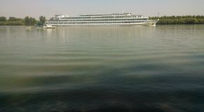 Slowly passing cruise ship on the Danube! Royalty Free Stock Image