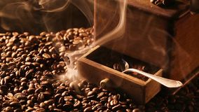 Slowly release the aroma of roasted coffee stock footage