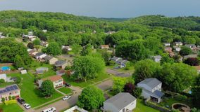 Slowly Rising Aerial Establishing Shot of Pennsylvanian Neighborhood