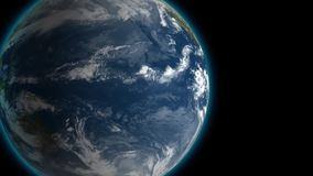 Slowly rotating Earth by in space night, seamless looped 4K 3d animation background. Contrast view. vector illustration