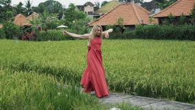 Slowly shooting a girl`s dance in a long red dress with a lush skirt. A dancer with a natural make-up, her hair loose. Makes twine in the air, gracefully raises stock video footage