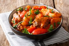 Free Slowly Stew Beef With Potatoes, Carrots, Peppers In Spicy Sauce Stock Images - 108263234
