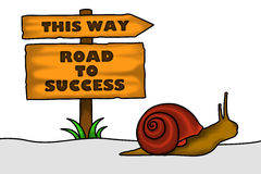 Slowly but Surely. An illustration of a snail crawling heading towards success. A conceptual illustration about positive thinking of life despite of difficulties Royalty Free Stock Images