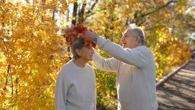 Slowmotion съемка пожилой пары обнимая и усмехаясь друг к другу в парке в красивой окружающей среде осени старо сток-видео