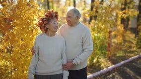 Slowmotion съемка пожилой пары обнимая и усмехаясь друг к другу в парке в красивой окружающей среде осени старо видеоматериал