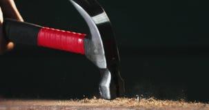 Slowmotion close-up die van die spijker krijgen met hamer wordt geraakt stock video