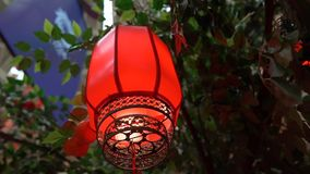 Slowmotion closeup of red chinese lanterns. Lunar new year concept. Chinese new year concept stock video footage