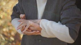 Slowmotion schot van bejaarden koppelt het koesteren van in een park in mooi een de herfstmilieu stock video