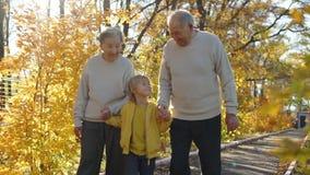 Slowmotion schot van bejaarden koppelt het lopen onderaan de gang aan hun grote kleinzoon en het glimlachen aan elkaar in a stock videobeelden