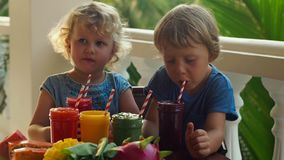 Slowmotion shot. Children ready to drink colorfull fruit shakes. They choose which to take first. Slowmotion shot. Children ready to drink colorfull fruit stock footage