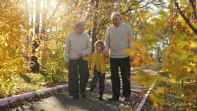 Slowmotion shot of an elderly couple walking down the walkway with their grand grandson and smiling to each other in a