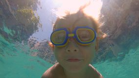 Slowmotion shot of little boy diving and splashing in a pool.  stock video