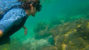 Slowmotion shot of a young man snorkeling in a sea. U.P.F 50 on a sleeve of a shirt - indicates Ultraviolet Protection. Factor of a shirt stock footage
