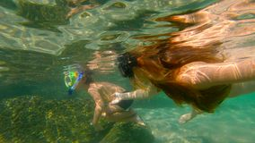 Slowmotion shot of a young woman and her little son snorkeling in a sea.  stock video footage