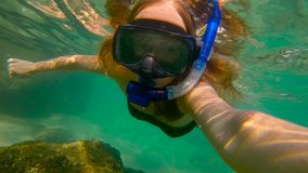 Slowmotion shot of a young woman snorkeling in a sea.  stock video footage