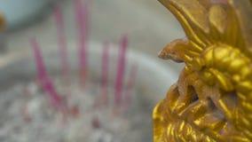 Slowmotion skott av röka aromatiska pinnar i en rökelsekar inom av en buddistisk tempel stock video