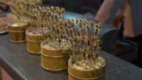 Slowmotion skott för Closeup av massor av skorpioner som strängas på en bambupinne Lopp till det Kina begreppet Exotiskt matbegre lager videofilmer