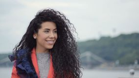 Beautiful woman with curly hair stock video footage