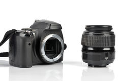 Slr body and lens Royalty Free Stock Images