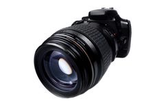 SLR Camera. A Digital SLR camera on white Royalty Free Stock Photography