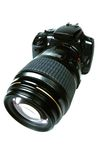 SLR Camera. An SLR Camera with a large lens Royalty Free Stock Photos