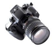 SLR camera. Isolated SLR camera Royalty Free Stock Photography