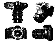 Slr camera. Four different views of a slr camera vector illustration