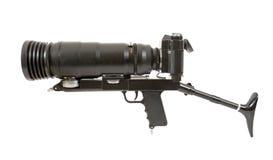 SLR camera with big lens Royalty Free Stock Photos