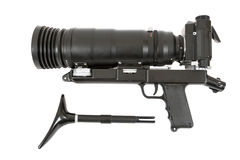 SLR camera with big lens Royalty Free Stock Photo