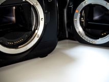SLR camera body metal bayonet lens mount without lens stock photography