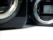 SLR camera body metal bayonet lens mount without lens royalty free stock images