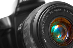 SLR Camera Closeup. Macro shot of a black photographic camera's lens royalty free stock images