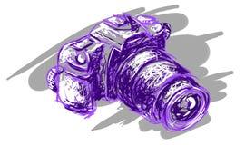 SLR camera. Hand sketch drawing illustration of a digital SLR camera Stock Photography
