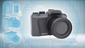 SLR camera on a hi-tech blue background Stock Images