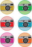 SLR vintage camera illustration in various colours. Vector drawing of an SLR camera in various colour skins . Available as jpeg and original eps vector file royalty free illustration