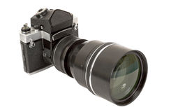 SLR camera and lens. On a white background Stock Photo