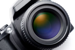 SLR camera lens. On white background Stock Photography
