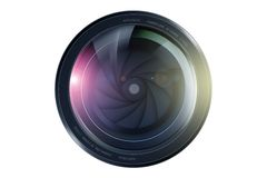 SLR Camera Lens. Front View. Lens Illustration Isolated on White Royalty Free Stock Photography